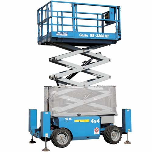 Genie GS3268 Engine powered scissor lift rental by US Aerials & Equipment Rental