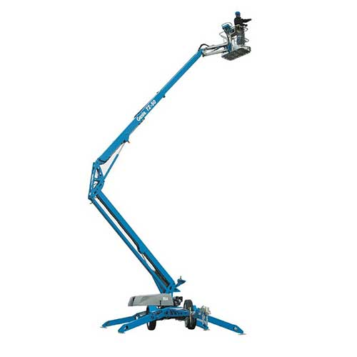 Genie TZ-50 trailer-mounted Z-boom lift rental by US Aerials & Equipment Rental