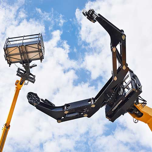 Aerial lift high in the air illustrating equipment rental from US Aerials & Equipment Rental