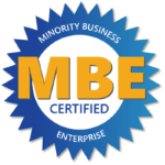 MBE - Minority Business Enterprise certified badge for US Aerials & Equipment Rental